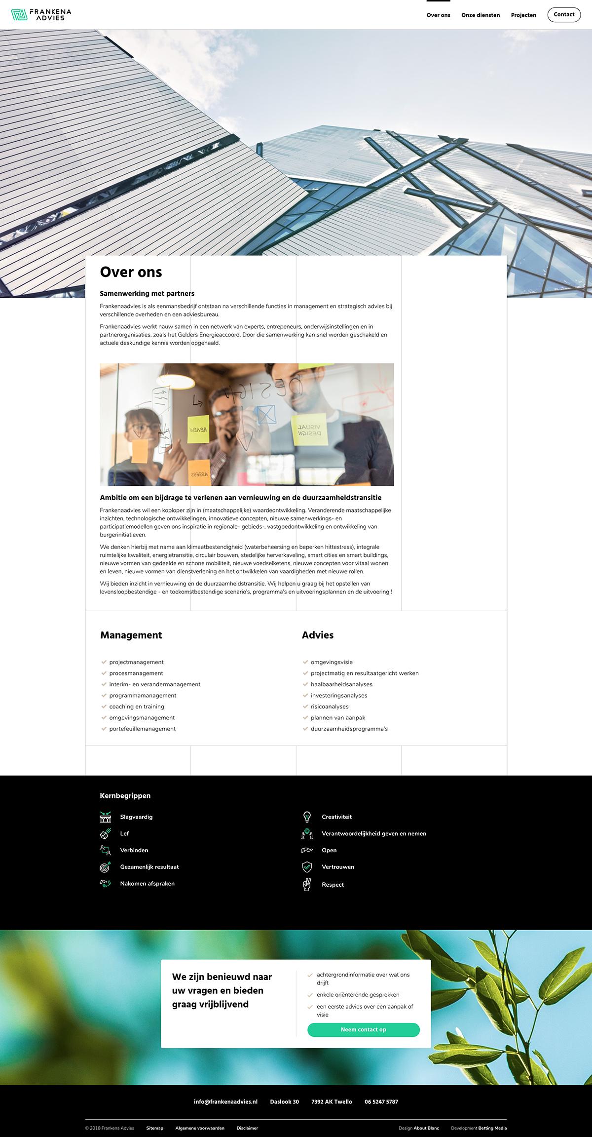 Ontwikkeling website Frankena Advies
