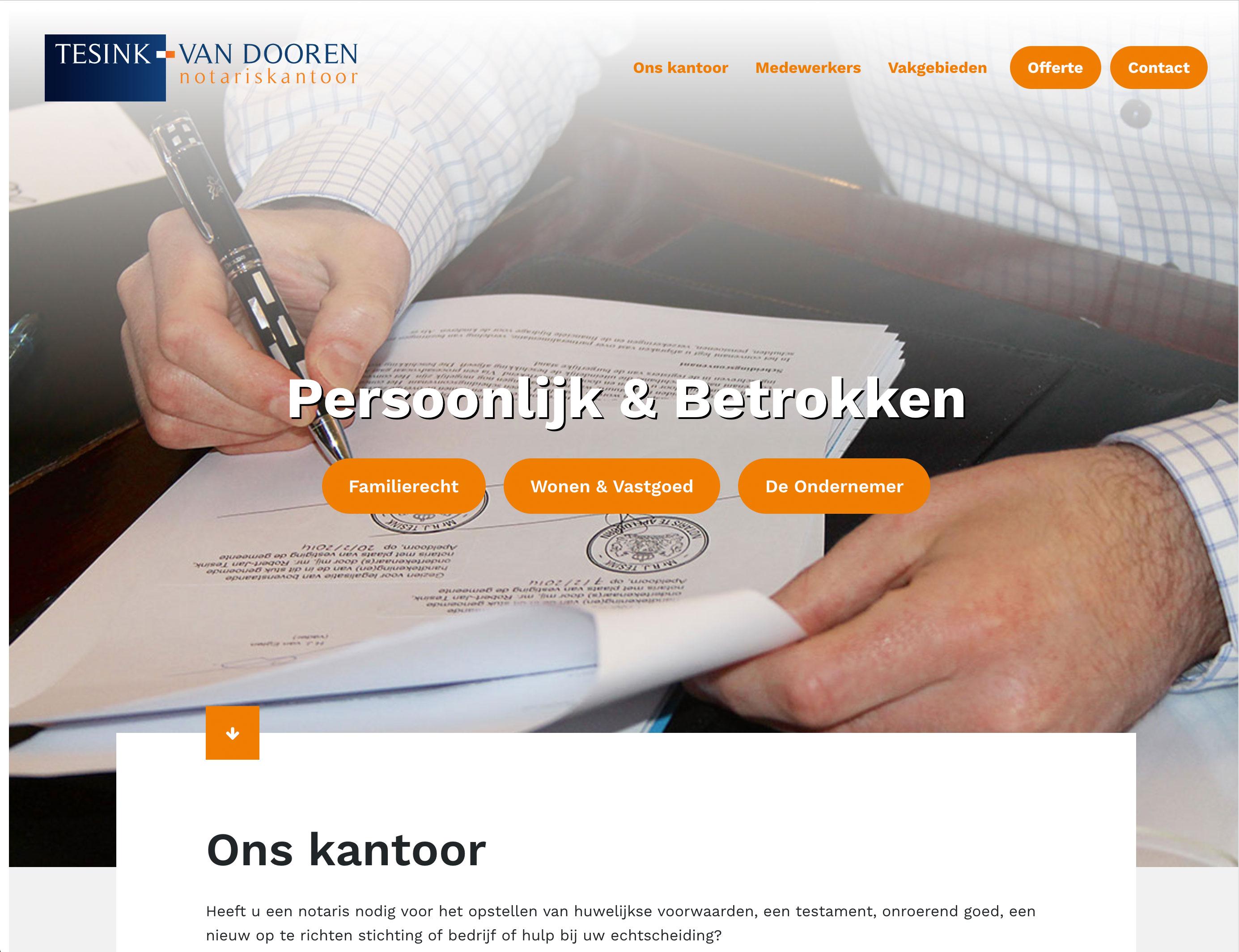 Nieuwe website voor notariskantoor Tesink - Van Dooren